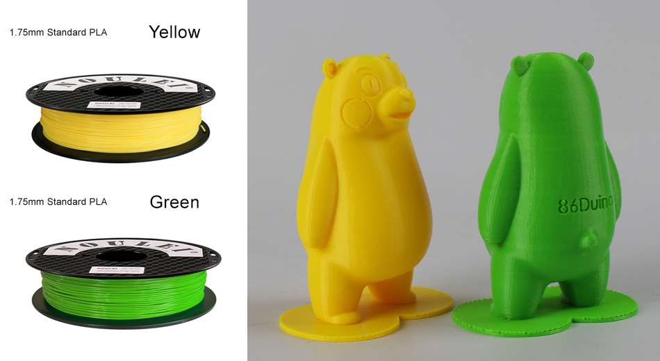 9 noulei 3d printing PLA filament 1.75mm Yellow Green