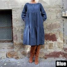 Plus Size Denim Dress VONDA 2019 Bohemian Women Long Lantern Sleeve Knee-Length Dress Casual Vestido Sexy Off Shoulder Sundress цена 2017