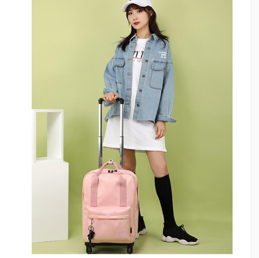Women Trolley Bag On Wheels Travel trolley bag luggage suitcase Women carry on hand luggage bag Wheeled school Bag with Wheels