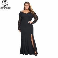 Skyyue Lace V-Neck Long Sleeve Robe De Soiree Elegant Off Shoulder Formal Gowns Plus Size Evening Dress Women Party Dresses T016