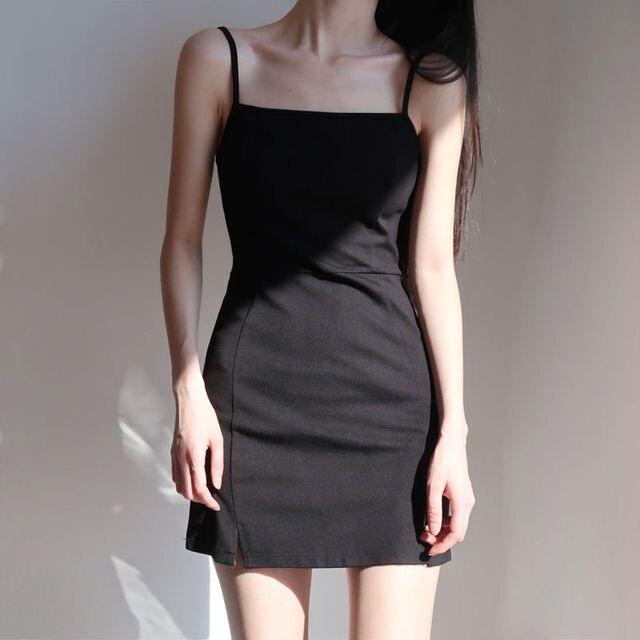 Women Sleeveless Dress Slash Neck Backless Mini Spaghetti Strap Black Sexy Retro Abdomen Slim Shaped Mature Simple Korean Style 2