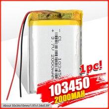 1/2/4 Высокая емкость 103450 3,7 В литий-полимерный аккумулятор 2000 мАч Li-po литий-полимерный MP5 GPS Bluetooth динамик ячейки