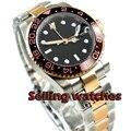 40mm Bliger Estéril Mostrador Preto Ouro Rosa de Cerâmica Vidro De Safira Bezel GMT Mão Relógio Automático dos homens