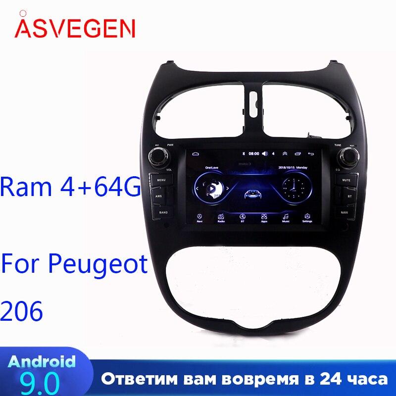 Android 9,0 автомобильный мультимедийный плеер для Peugeot 206 Ram 4 + 32G GPS навигация головное устройство BT с сенсорным экраном Автомобильный стерео пле...