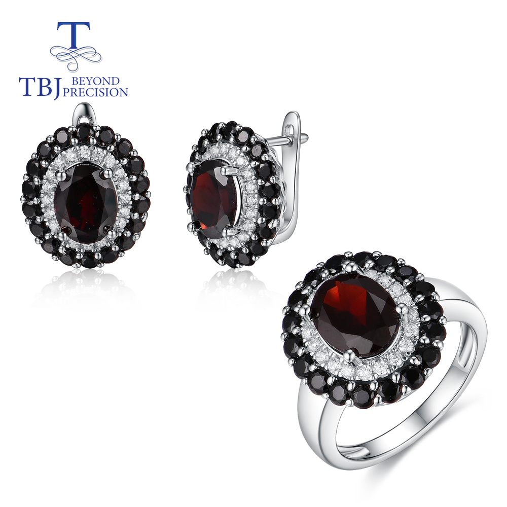 TBJ,New Style Natural Black Garnet Gemstone 925 Sterling Silver Ring And Earrings Fine Jewelry Set For Women Party & Daily Wear