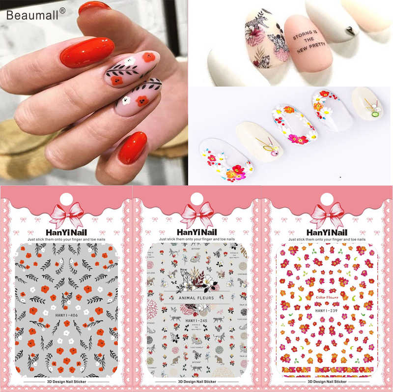 Elegante Bloemen Nails Art Manicure Terug Lijm Decal Decoraties Ontwerp Nail Sticker Voor Nagels Tips Beauty
