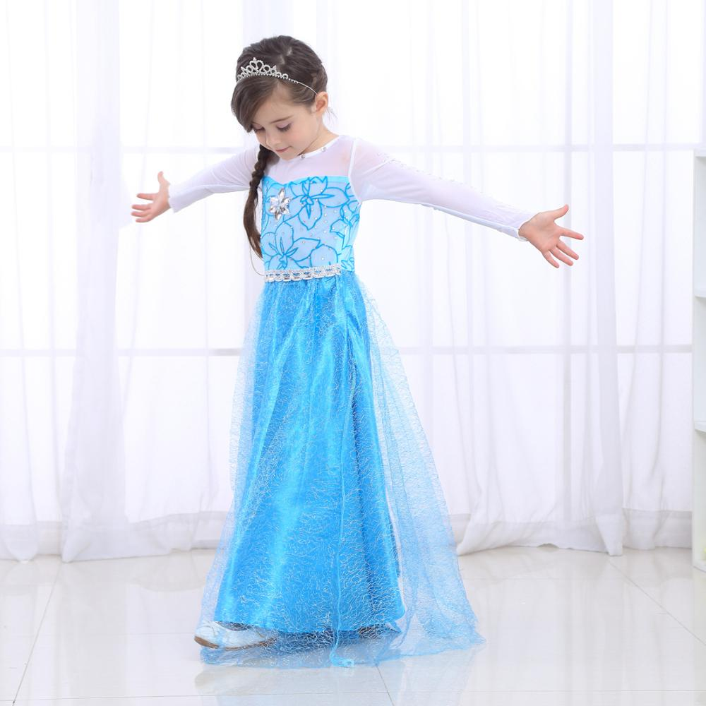 Girls Fancy Queen Elsa Costume Bling Synthetic Crystal Bodice Princess Elsa Party Dress Snow Queen Cosplay Clothes For Kids