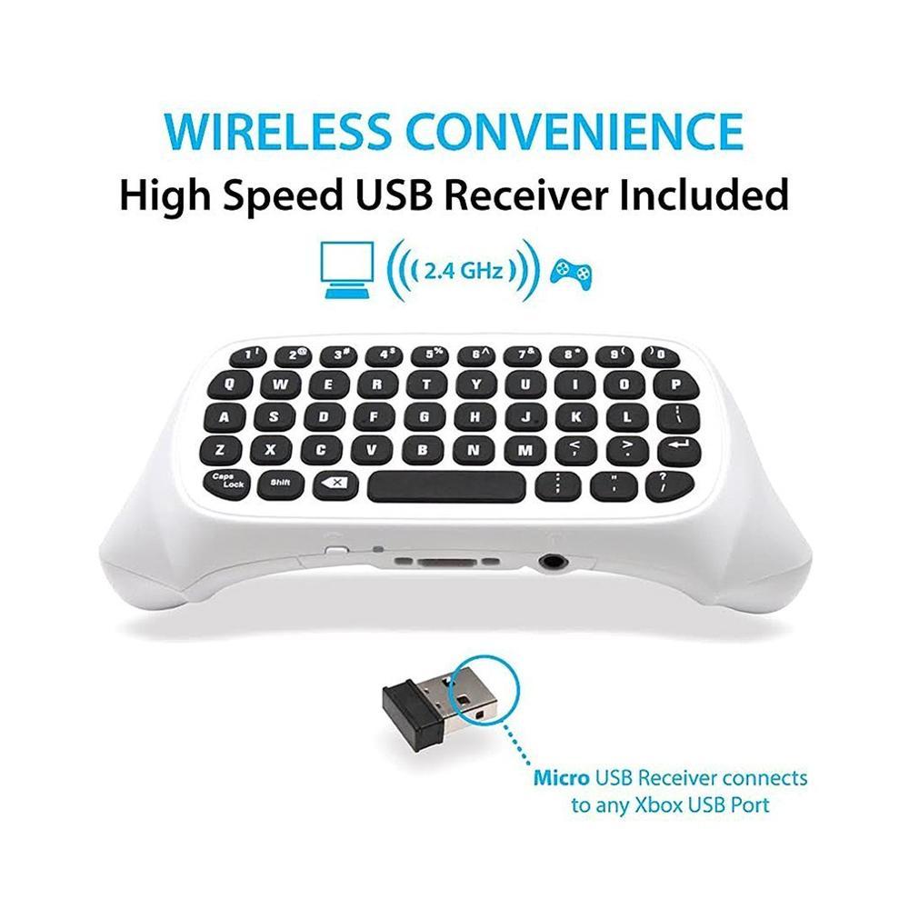 47 Keys Wireless 2.4G Practical Mini Handheld Keyboard Gaming Message Gamepad Keyboard For XBOX ONE S Controller Black/White