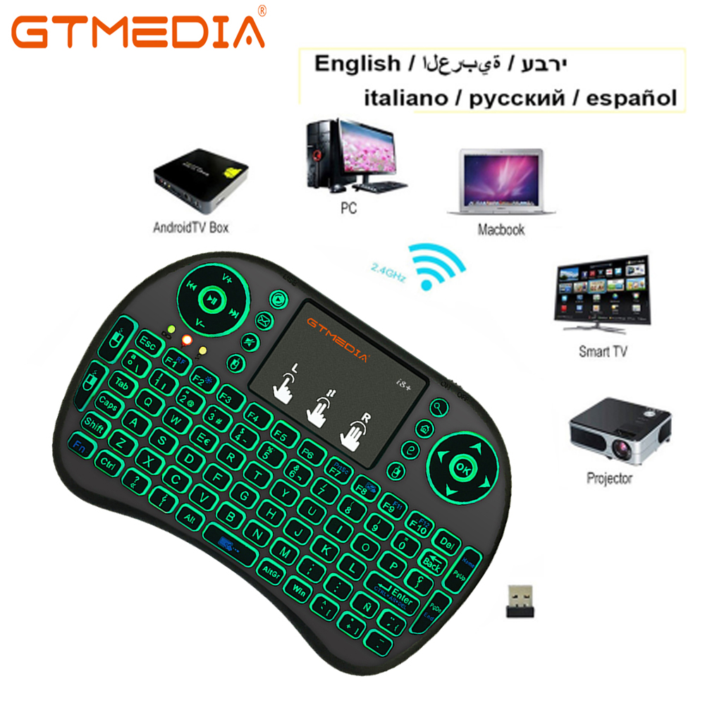 GTMEDIA I8 Wireless Mini Keyboard Russian Spanish English Keyboard +Touchpad Gaming Keyboards For Samsung Smart TV Box Laptop PC
