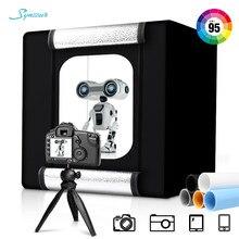 40cm podświetlana tablica blat Photo Studio składany LED 5500K ściemniania Lightbox z 5 sztuk zdjęcie tło papieru do fotografii