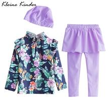 Купальный костюм для девочек, Солнцезащитный Рашгард с длинными рукавами+ леггинсы с юбкой, детский купальник с цветочным рисунком, детские купальники для девочек