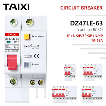 цена на Circuit Breaker Mini RCD RCBO DZ47 10A 16A Current 30mA 15mA MCB Leakage Protector Household Industry Single Phase Three Phase