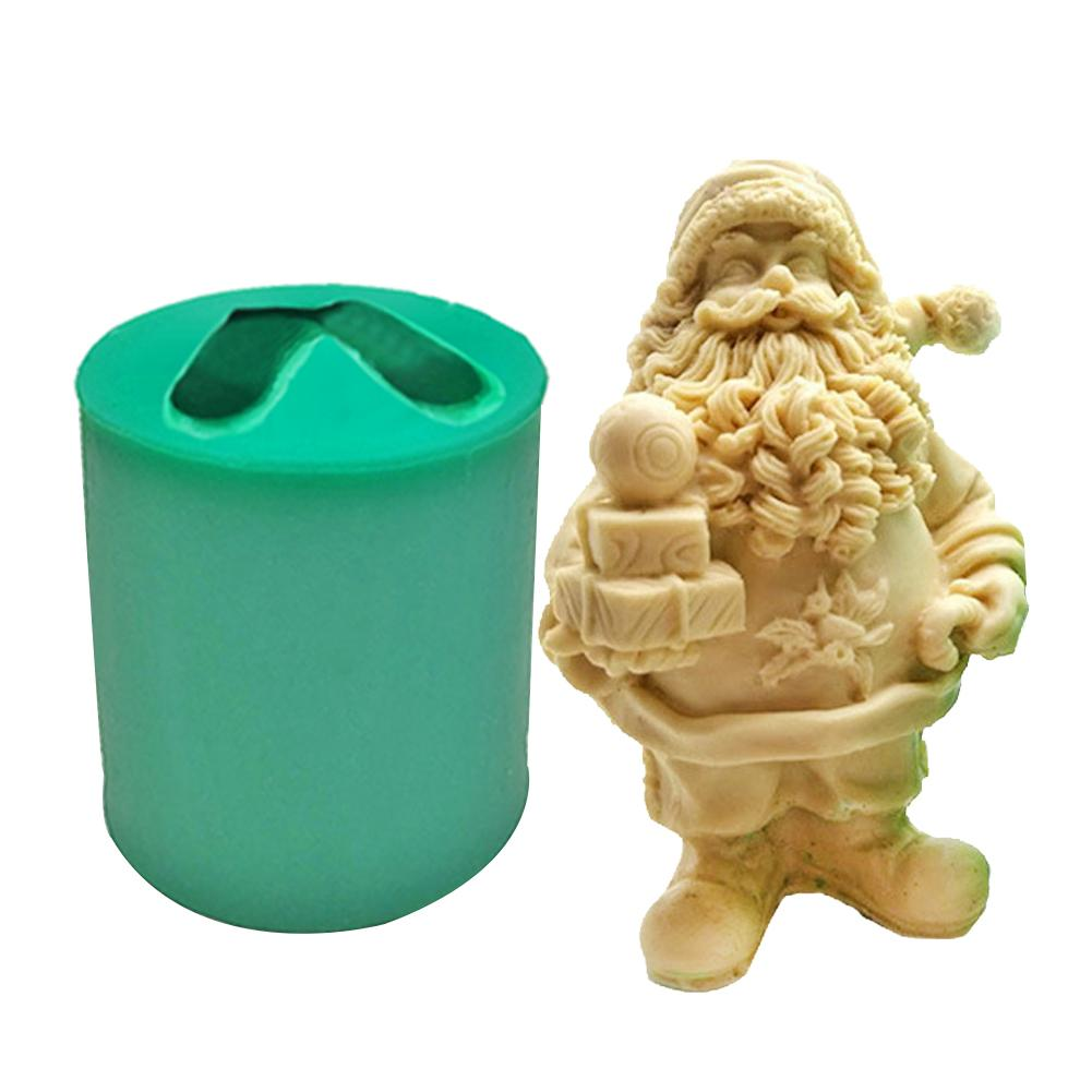 3D Santa//Snowman Shape Silicone Candle Soap Making Mold Christmas Candle Mold Reusable Cake Decorating Mould For DIY Figurine Crafts Christmas Series Resin Silicone Mold