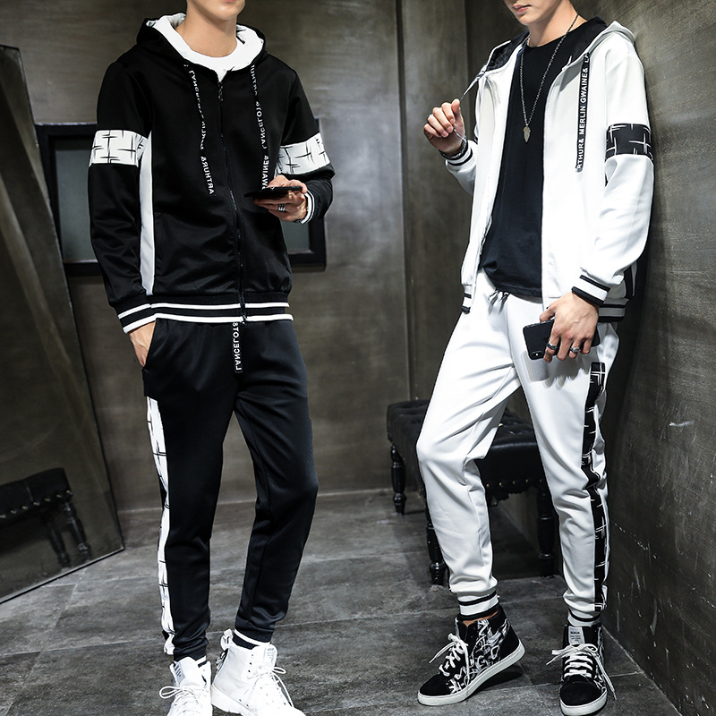 2019 New Style Sports MEN'S Casual Suit Trousers Urban Fashion Hooded