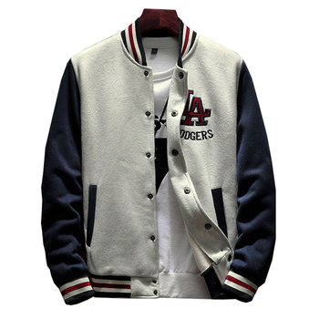 2020 New Arrival Letter Rib Sleeve Cotton Embroidery Logo Single Breasted Casual Bomber Baseball Jacket Loose Cardigan Coat 1