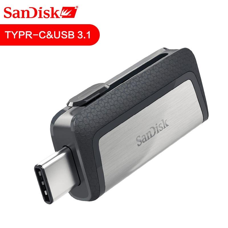 Sandisk Pen Drive 128GB  256GB SDDDC2 Extreme High Speed Type-C USB3.1 Dual OTG USB Flash Drive 64GB 16GB 130M/S PenDrive 32GB