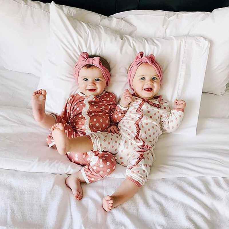 0-18M Baby Girls Boys Spring Autumn Romper  Clothes New Born Dot Printed Jumpsuit + Headband Infant Outfits 2Pcs Set