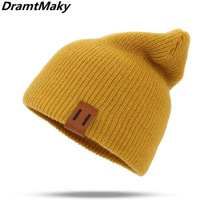 2018 Winter Hats For Woman HipHop Knitted Hat Women's Warm Slouchy Cap Crochet Ski Beanie Hat Female Soft Baggy Skullies Beanies