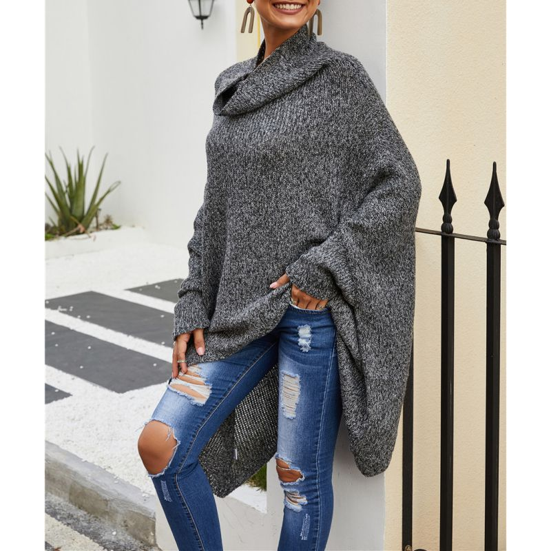 Autumn And Winter Cloak Sweater Gray High Collar Pullover Sweater Long Paragraph Shawl Bat Shirt Cloak Knitted Jacket