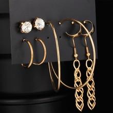 Vintage Womens Hoop Earrings For Women Tassel Inlaid Rhinestone Set 5 Pairs Earings 2020 Fashion Jewelry