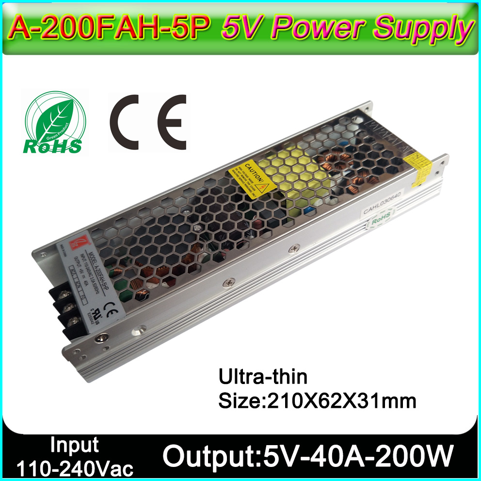 A-200FAH-5HP 5V40A200W Ultra-thin Switch Power Supply Input Voltage Outdoor Indoor Full Color LED Display Dedicated Power Supply