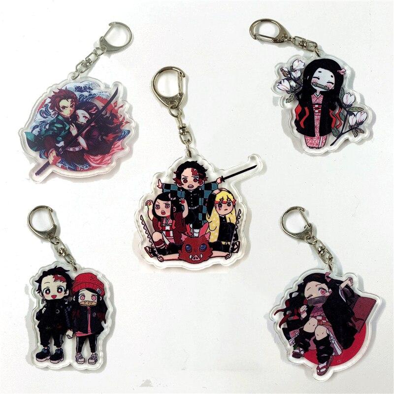 Demon Slayer Kimetsu No Yaiba Anime Key Chain Charm Acrylic KeyChain Keyring Pendant Gift For Fans Wholesale 2020