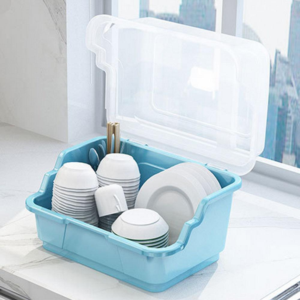 Kitchen Dish Drainer Rack Plastic Tableware Storage Box Holder With Lid Portable Drying Rack Cutlery Storage Kitchen Organizer