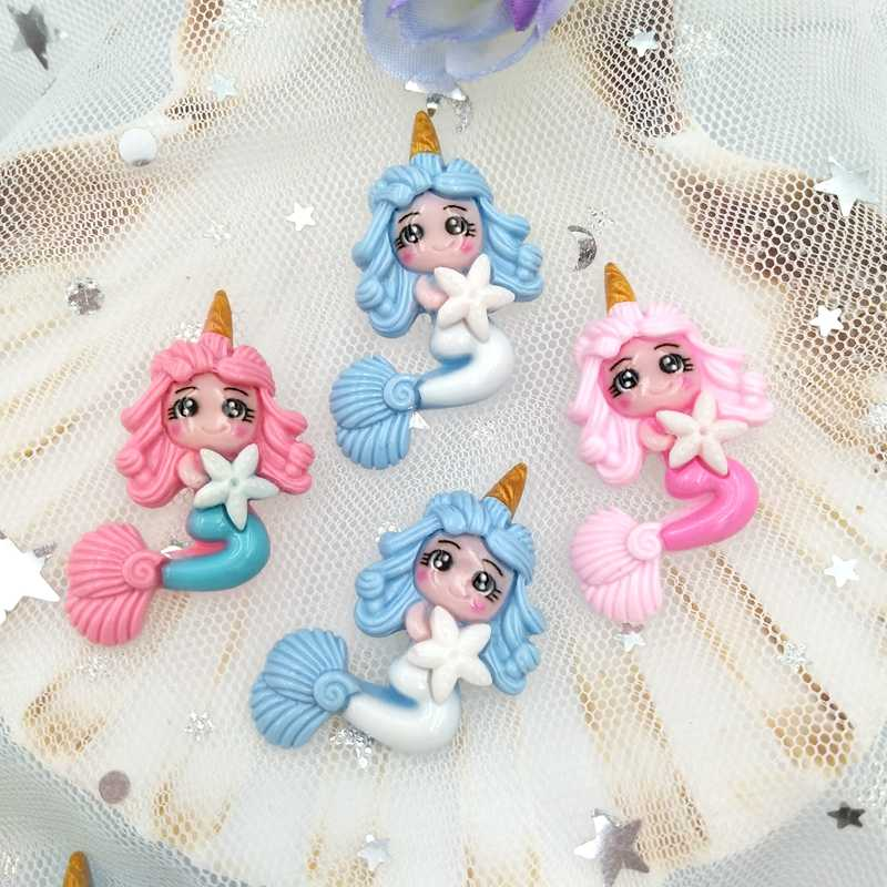 10pcs Kawaii Unicorn Mermaid Princess flatback เรซิ่นตกแต่ง Charm DIY Scrapbooking Embellishment อุปกรณ์เสริม