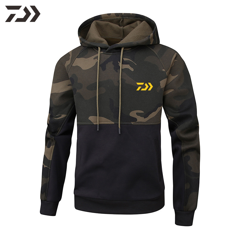 DAIWA Fishing Sweatshirt Men Camouflage Fishing Hoodies Autumn Fishing Shirt Long Sleeve In Fishing Clothing Outdoor Casual Men