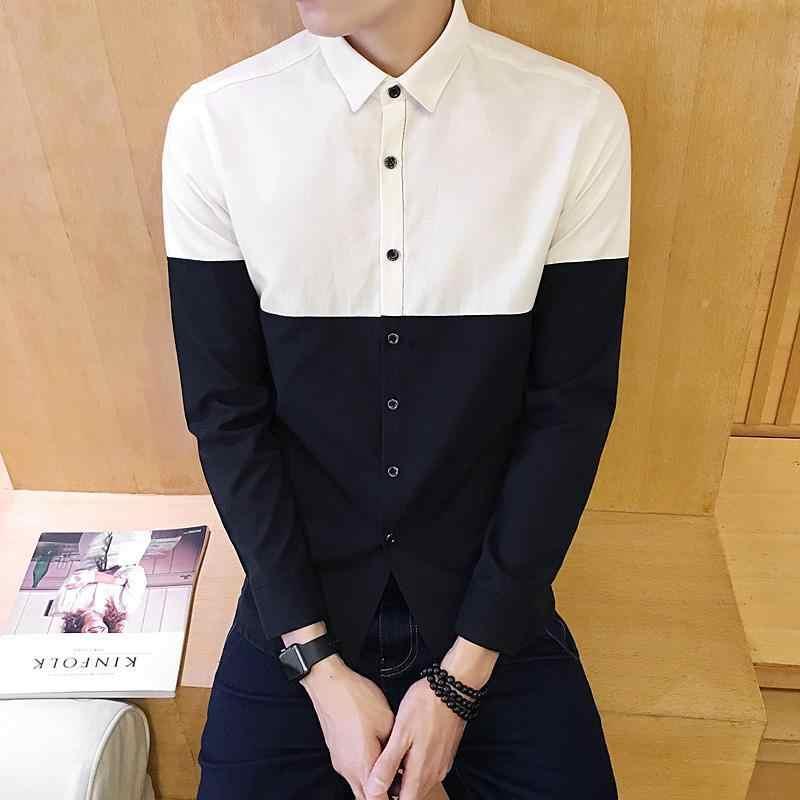 Punkt kołnierz blok kolor koszula typu oxford mężczyźni pojedyncze piersi z długim rękawem jesień z długim rękawem koszula koreański mężczyźni odzież Streetwear 4XL