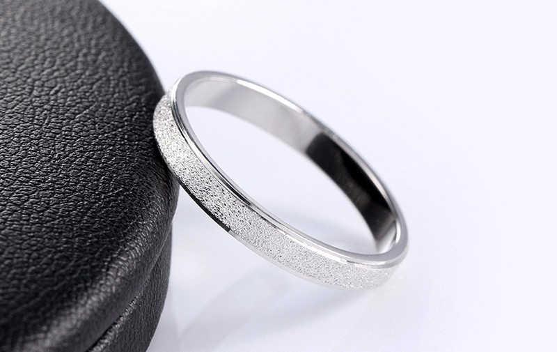 Dengan Sertifikat Perak 925 Frosted Jari Cincin untuk Wanita Pria Pernikahan Band Perak 925 Perhiasan Kualitas tinggi Tidak Pernah Pudar MSR07