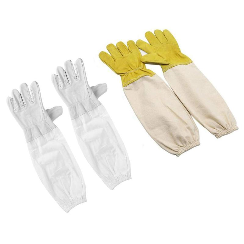 1 Pair Professional Prevent Gloves Breathable Ventilated Cotton Leather Anti Bee Protective Sleeves For Beekeeping Apiculture