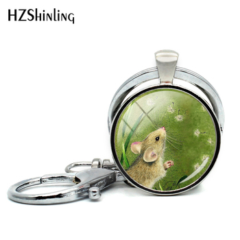 2018 New Small Mouse Painting Keyrings For A Woman Bag Fairy Tale Mouse Glass Cabochon Keychain