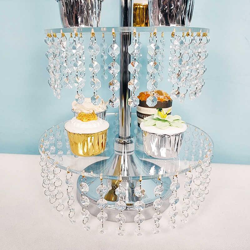 Alta qualidade acrílico bolo suporte 4 camadas & 3 camadas copo de papel decoração do casamento
