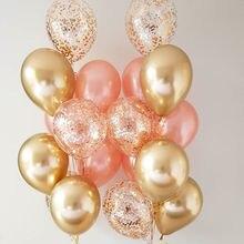 18 шт металлическая хромированная цвета: золотистый, серебристый воздушных шаров из латекса, цвет-розовое золото прозрачный конфетти шар дл...