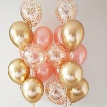 Ballons en Latex en métal chromé or argent, or Rose, confettis transparents, décoration de fête, ballons à Air pour mariage, anniversaire, 18 pièces