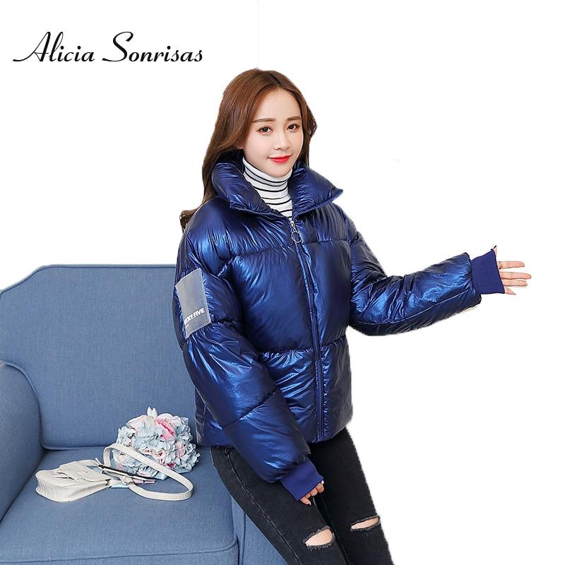 2019 New Winter Jacket Women White Big Size Glossy Down Cotton Jacket Loose Warm Thick Punk   Parkas   Female Coats