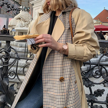 Simplee Casual lapel women trench coat Double breasted stitching plaid female long trenches High street style ladies overcoats 1