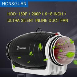 Hon & Guan, 6, 8 дюймов, 220 В, вытяжной вентилятор, ультра бесшумный, встроенный канальный вентилятор для жилого офиса, ванной комнаты, мощный венти...