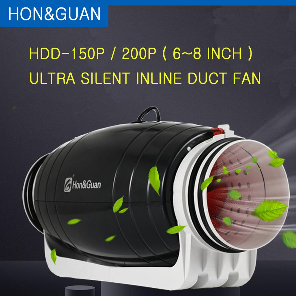 Hon&Guan 6 8 Inch 220V Exhaust Fan Ultra Silent Inline Duct Residential Office Bathroom Powerful Ventilation Kitchen Wall Fan