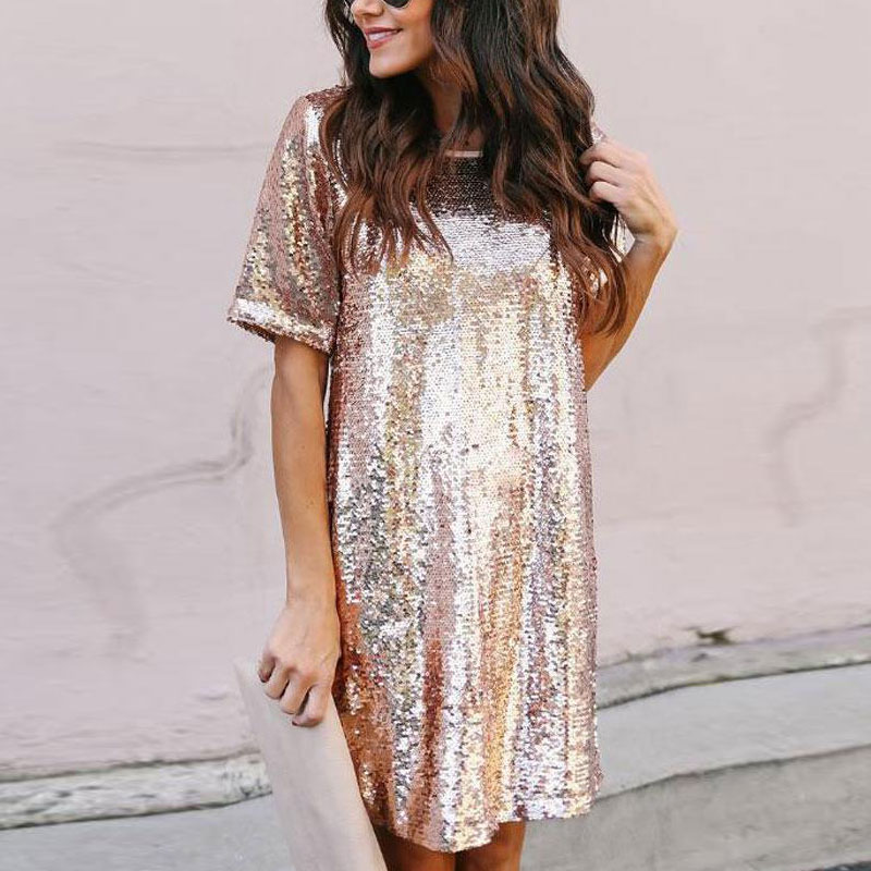 Black Rose Gold Sequin Dress 2020 Summer New Year Glitter Dress Short Sleeves Elegant Casual Club Party Dresses Women Evening