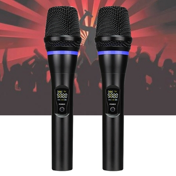 Bluetooth Speech Dual Handheld Dynamic with Display Wireless Professional UHF Singing Church Rechargeable KTV microphone Set