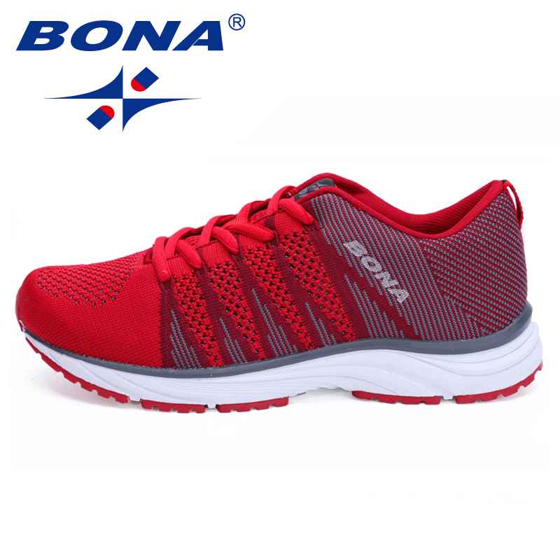 BONA New Women Running Shoes Mesh Knit Trainers Designer Trends Tennis Sports Outdoor Walking Jogging Sneakers Women