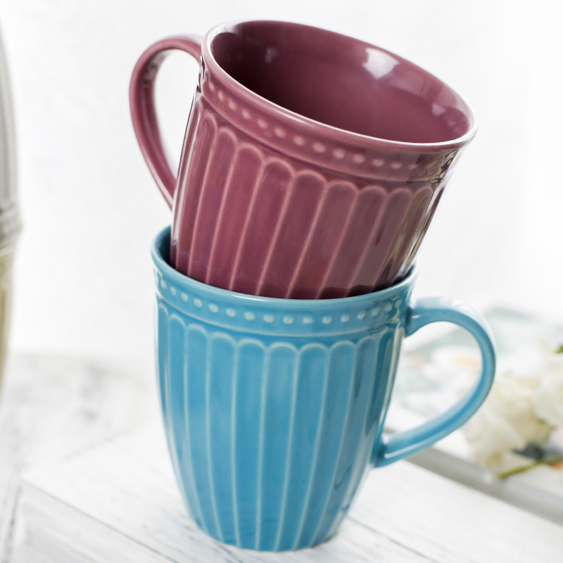 coffee mug China Ceramic cup tazze colazione Tea cups colorful color and Embossed stripe cup drinkware milk cup breakfast cup