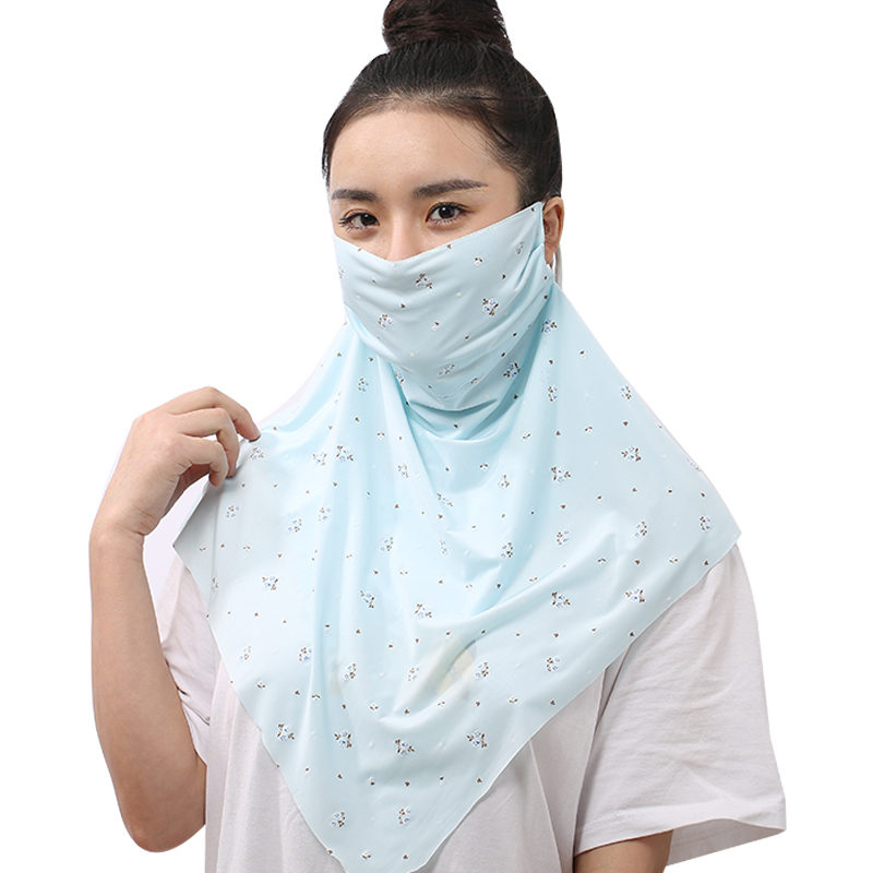 Summer Sun Protection Dust Mask Female Neck Protection Neck Cover Full Face Mask Ice Silk Cool Thin Floral Shawl