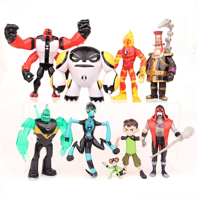 9pcs/lot BEN10 Character Four Arms Wildmutt Action Figure PVC Toys For Kid Birthday Gift