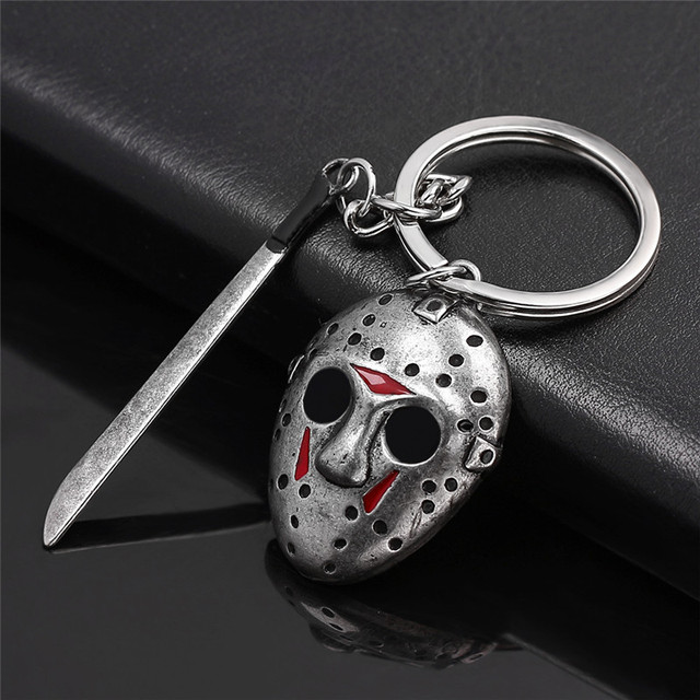Black Friday the 13 the Keychain Chucky Face Stephen Kings IT Penny Wise Jason Hockey Freddy Scream Horror Sword keyring