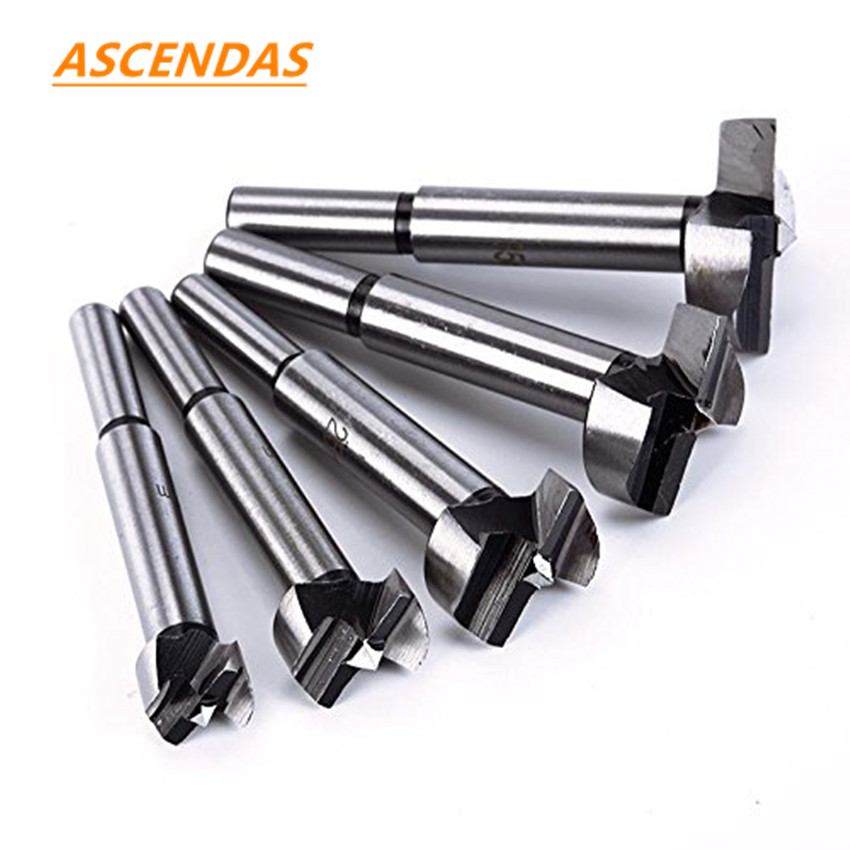 5Pcs 15-35mm Wood Hole Saw Cutter Forstner Auger Drill Bit Set Round Shank Forstner Drills Tips Woodworking Tools TP-0251