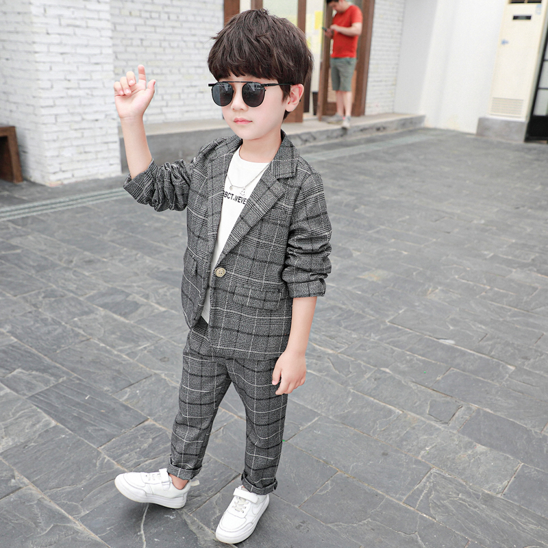 Autumn Fashion Baby Boys Sets 2020 New Long Sleeve Plaid Jacket + Trousers 2 Pieces Set Kids Clothes Casual Children Sets