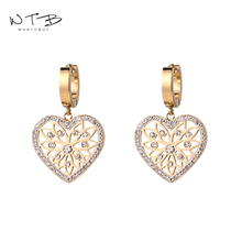 Wantobuy Fashion 316L Stainless Steel Rose Gold Heart Hollow Dangle Earrings Middle Eastern Style Love for Women Girls